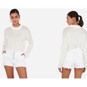 Express White Midi High Rise Button Up Jean Shorts